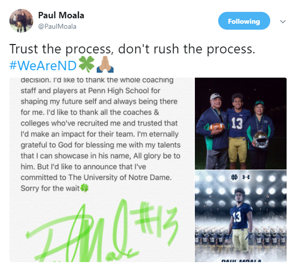 moala commitment