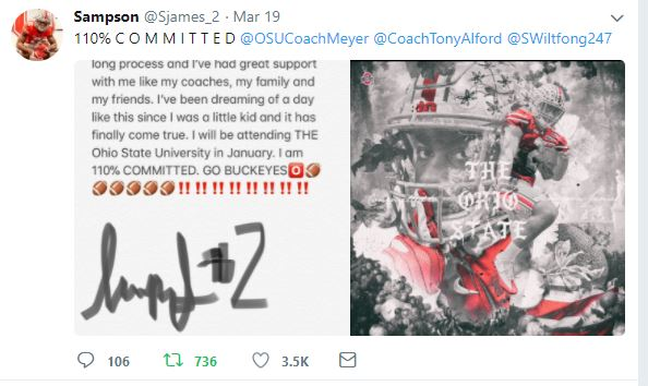 sampson james commitment to ohio state twitter
